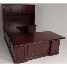 36 x 72 Wood Veneer Desk U-Group With Hutch in Mahogany Finish