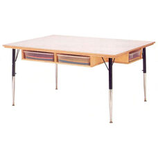 Six Person Table with Storage and White Melamine Tabletop