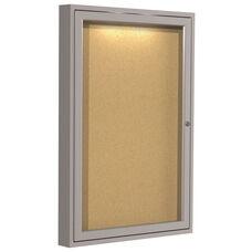 Satin Aluminum Frame 1-Door Enclosed Natural Cork Bulletin Board - Concealed Lights - 36