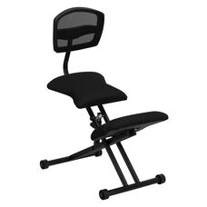 Ergonomic Kneeling Office Chair with Back in Black Mesh and Fabric