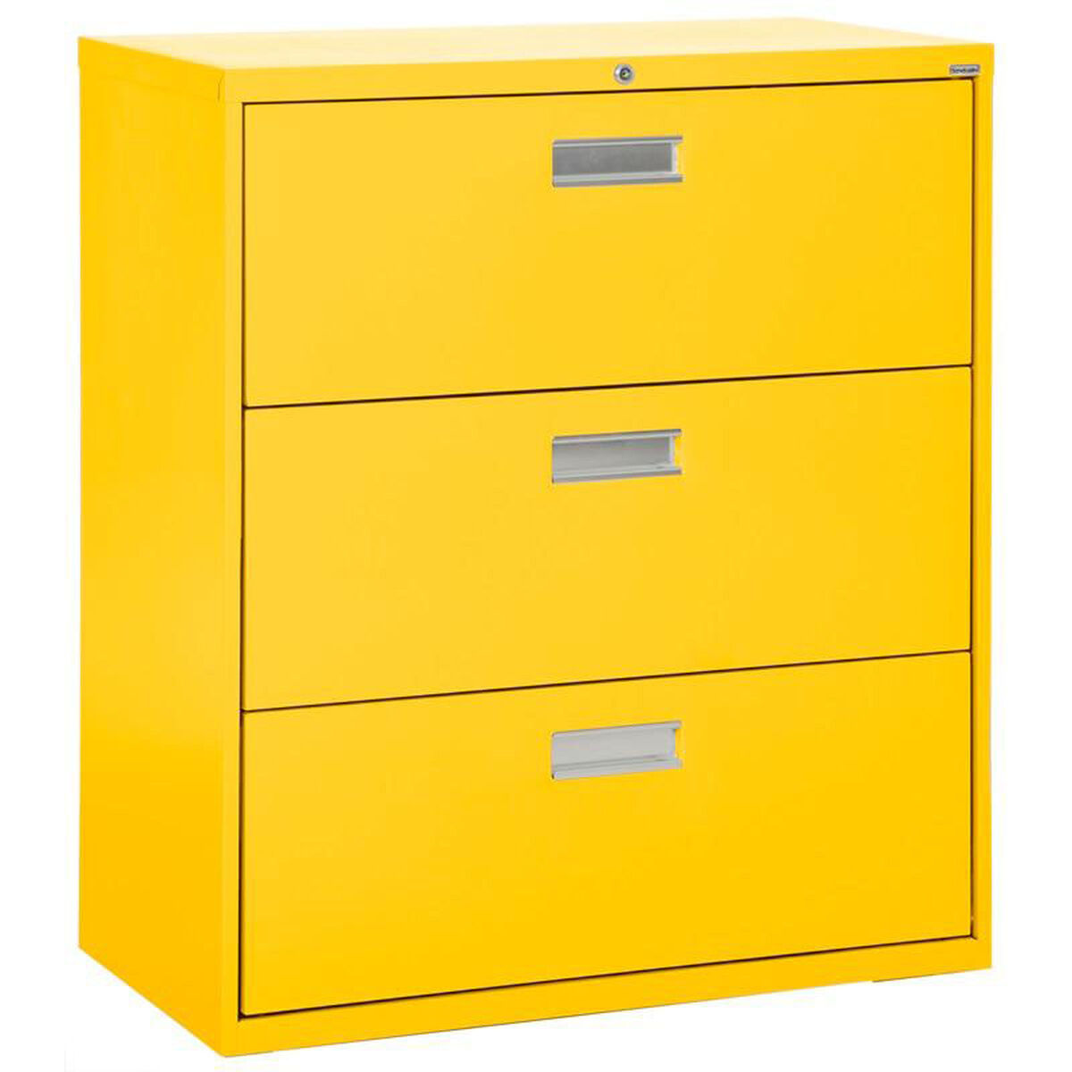 Three Drawer Lateral File Cabinet Yellow Product Pl 102 Eel Video Our 600 Series 42 W X 19 25 D 40 88