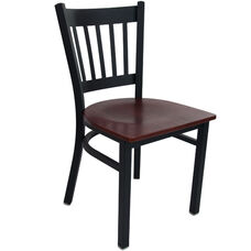 Advantage Black Metal Vertical Slat Back Chair - Mahogany Wood Seat