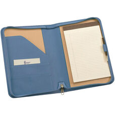 Zip Around Junior Writing Padfolio- Top Grain Nappa Leather - Ocean Blue