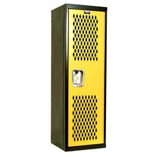 Home Team Locker - Unassembled - Black Body and Yellow Door - 15''W x 15''D x 48''H
