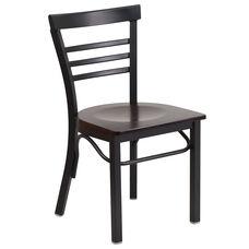 Black Ladder Back Metal Restaurant Chair with Walnut Wood Seat