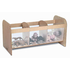 Kids 3 Compartment Open Toy Storage Box with Plexiglass Sides and Birch Plywood End Panels