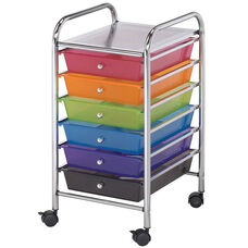 6 Drawer Chrome Frame Storage Cart - Multicolor