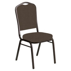 Crown Back Banquet Chair in Cobblestone Amber Fabric - Gold Vein Frame
