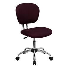 Mid-Back Burgundy Mesh Swivel Task Chair with Chrome Base