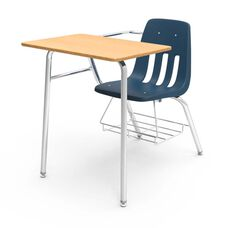 9000 Series Classic Student Combo Desk with Fusion Maple Laminate Top, Chrome Frame, and Navy Chair - 24