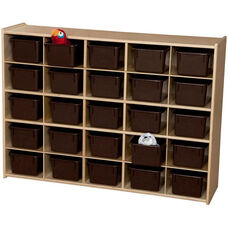 Contender Wooden Tray Storage Unit with 25 Chocolate Plastic Trays - Assembled - 46.75
