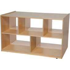 Double Sided Mobile Wooden 2 Shelf Storage Island with Acrylic Divider - 48