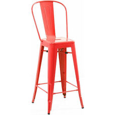 Dreux Glossy Red Steel High Back Armless Barstool - Set of 4
