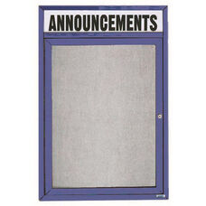 1 Door Outdoor Enclosed Bulletin Board with Header and Blue Powder Coated Aluminum Frame - 48