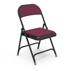 Multi-Purpose Steel Folding Chair with Sedona Ruby Fabric Pads and Black Frame - 17.75''W x 18.75''D x 29.5''H