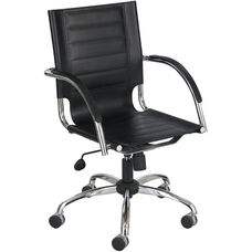 Flaunt™ 25'' W x 37'' H Mid Back Leather Managers' Chair - Black