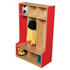 Strawberry Red 3-Section Seat Lockers with Two Coat Hooks in Each Section - Assembled - 30