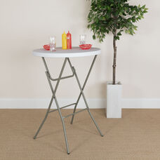 2.63-Foot Round Granite White Plastic Bar Height Folding Table