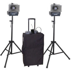 Deluxe Wireless Speakers Half-Mile 50 Watt Hailer Kit with Wireless Headset and Lapel Microphone - 12.5