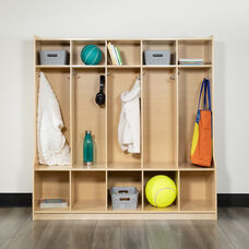 """Wooden 5 Section School Coat Locker with Bench, Cubbies, and Storage Organizer Hook-Safe, Kid Friendly Design - 48""""H x 48""""L (Natural)"""