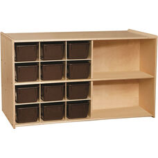 Contender Double Sided Mobile Storage with 12 Chocolate Plastic Trays - Unassembled - 46.75