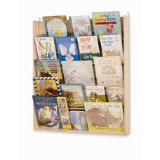 Birch Wall Book Display Rack with Clear Plexiglass Holders