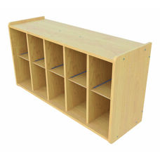 1000 Series Wall Mounted Coat Rack Storage with 10 Cubbies - Assembled