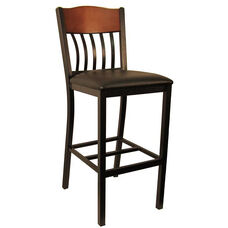 Metal Vertical Slat Back Barstool with Black Vinyl Seat