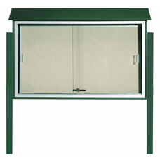Green Sliding Door Plastic Lumber Message Center with Vinyl Surface and Post