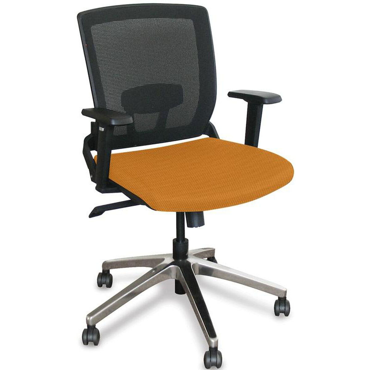 Our Fermata Operational Mesh Chair With Aluminum Base Orange Fabric Is On Now