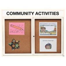 2 Door Indoor Illuminated Enclosed Bulletin Board with Header and White Powder Coated Aluminum Frame - 48