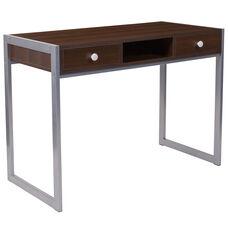 Bradley Dark Wood Grain Finish Desk with Silver Metal Frame