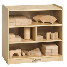 Natural Birch Small Multi-Cubby Block Storage Cart - 13