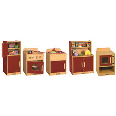 Colorful Essentials 5 Piece Full Preschool Kitchen Play Station Set - Red