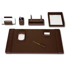 Classic Leather 8 Piece Desk Set - Chocolate Brown