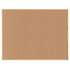 Economy Series Natural Pebble Grain Cork Bulletin Board with Wood Frame - 36