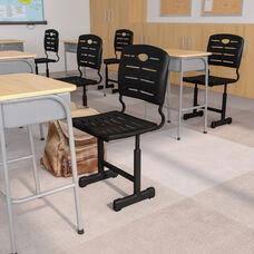 Adjustable Height Black Student Chair with Black Pedestal Frame
