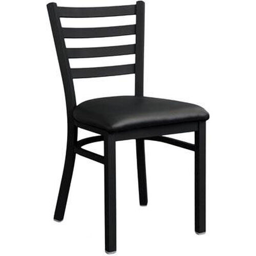 Metal Ladder Back Chair with Black Finish
