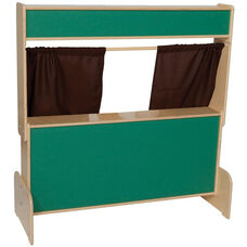 Deluxe Wooden Puppet Theater with Chalkboard and Brown Curtains - 47