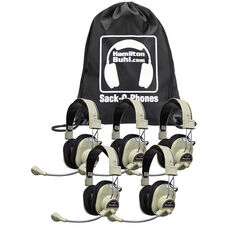 Beige Over-Ear Leatherette Ear Cushion Deluxe Sack-O-Phones Microphone Headsets with Plastic Head Band and Carry Bag - Set of 5 Headphones