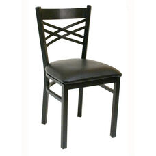 Quick Ship Lattice Back Metal Dining Chair - Black Vinyl Seat