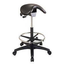Work Smart Backless Vinyl Stool with Saddle Seat and Seat Angle Adjustment - Black