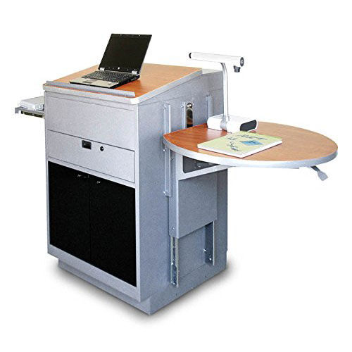 Our Vizion Collabritive Stationary Teachering Center Lectern with Acrylic Doors - Silver Powdercoat Paint and Cherry Laminate is on sale now.