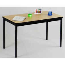 High Pressure Laminate Rectangular Lab Table with Black Base and T-Mold - Fusion Maple Top - 24