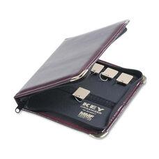 SteelMaster® Portable Zippered Key Case - 24-Key - Leather-Like Vinyl - Burgundy - 8 3/8 x 7