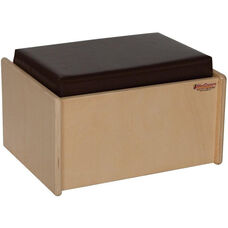 Wooden Kids Single Bench with Brown Vinyl Cushion - 16