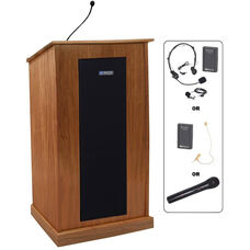Chancellor Wireless 150 Watt Sound and Microphone Lectern - Cherry Finish - 24