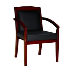 Mercado Solid Back Guest Chair -Set of 2 - Black Leather with Medium Cherry Finish