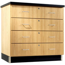 Science Lab Wooden Base Cabinet with 4 Locking Drawers - 36