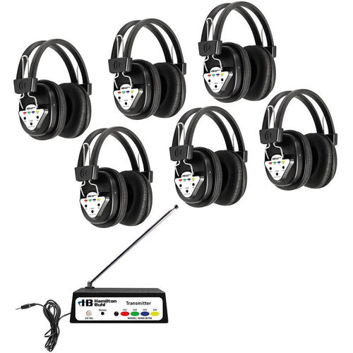 Our Black Deluxe Bluetooth Enabled Wireless Headphone Listening Center with Leatherette Ear Cushions and Multi-Frequency Transmitter - Set of 6 Headphones is on sale now.